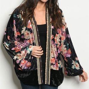Oversized Floral Velvet Kimono